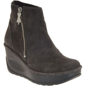 NWT! FLY London Jome Wedge Boots Oil Suede Diesel
